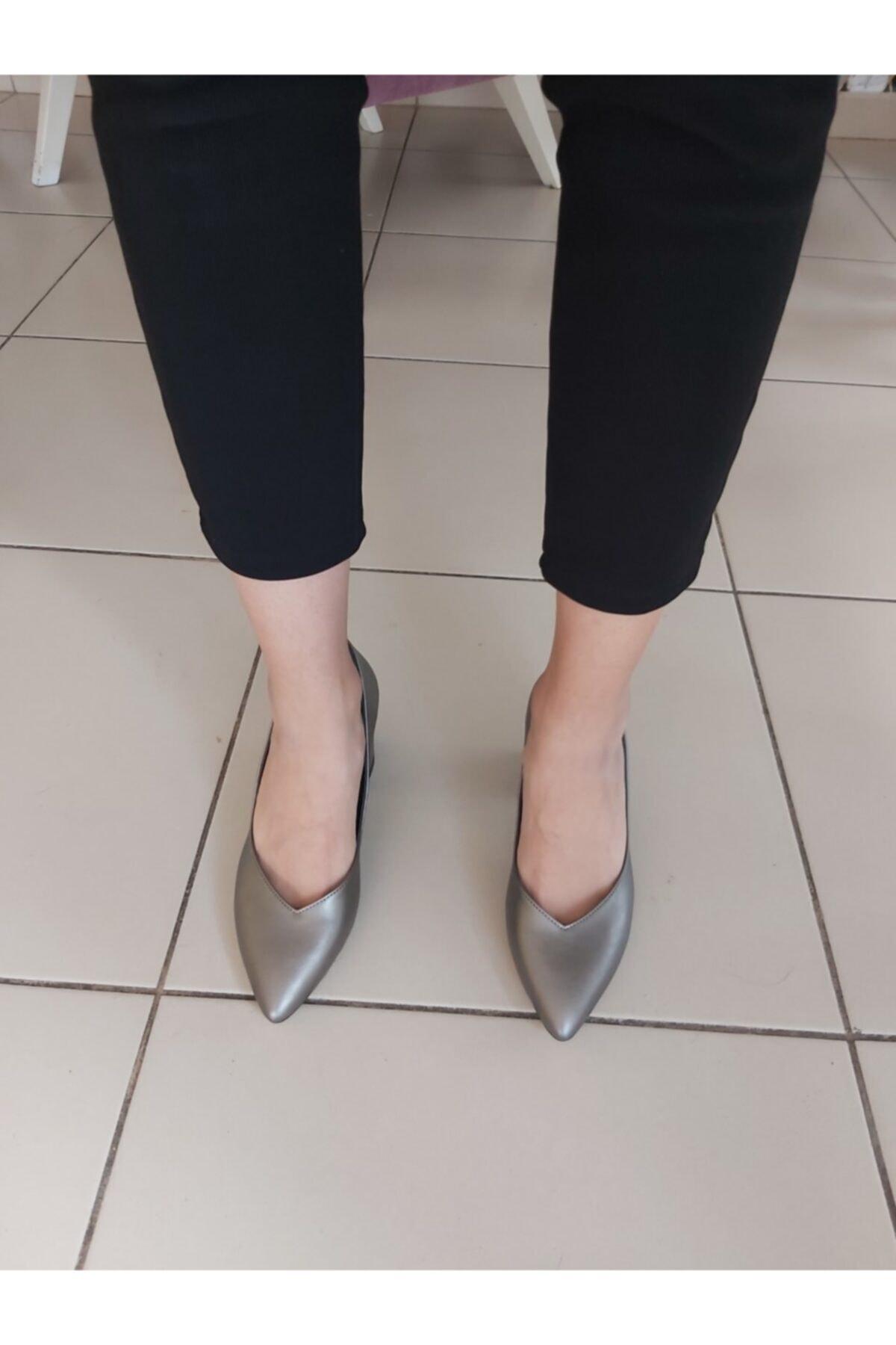 TUGBANIN AYAKKABILARI Kadın  Gri Topuklu Ayakkabı 2