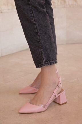STRASWANS Kadın Pembe  Deri Topuklu Ayakkabı Pudra