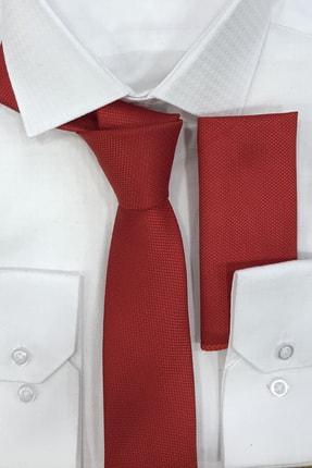 Quesste Accessory Armür Dokumalı Kırmızı Noktalı Mendilli İnce Kravat 6 cm