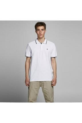 Jack & Jones Erkek Beyaz Axel Bla Polo Yaka Tişört 12170949 W