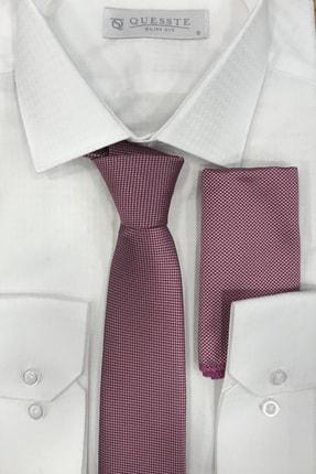 Quesste Accessory Erkek Pembe Armür Dokumalı Noktalı Mendilli Ince Kravat 6 cm