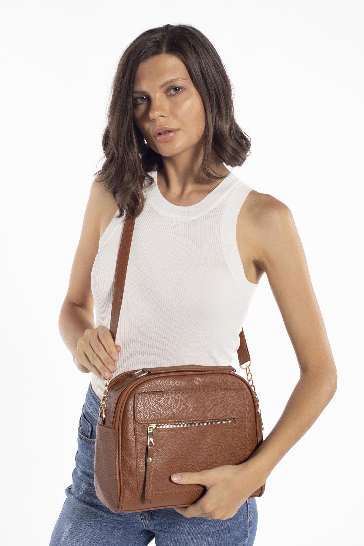 Madamra Aynı Butikte 2.Ürün 1 TL  Taba Kadın Çok Bölmeli Omuz Çantası Çapraz Çanta ve El Çantası 2