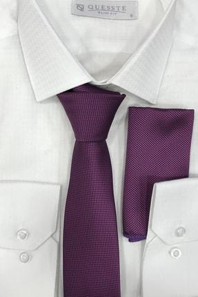 Quesste Accessory Erkek Mor Armür Dokumalı Noktalı Mendilli Ince Kravat 6 cm