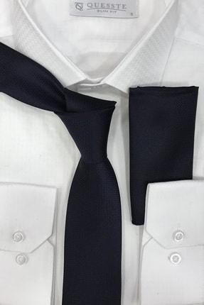 Quesste Accessory Erkek Lacivert Quesste Armür Dokumalı Noktalı Mendilli Ince Kravat 6 cm