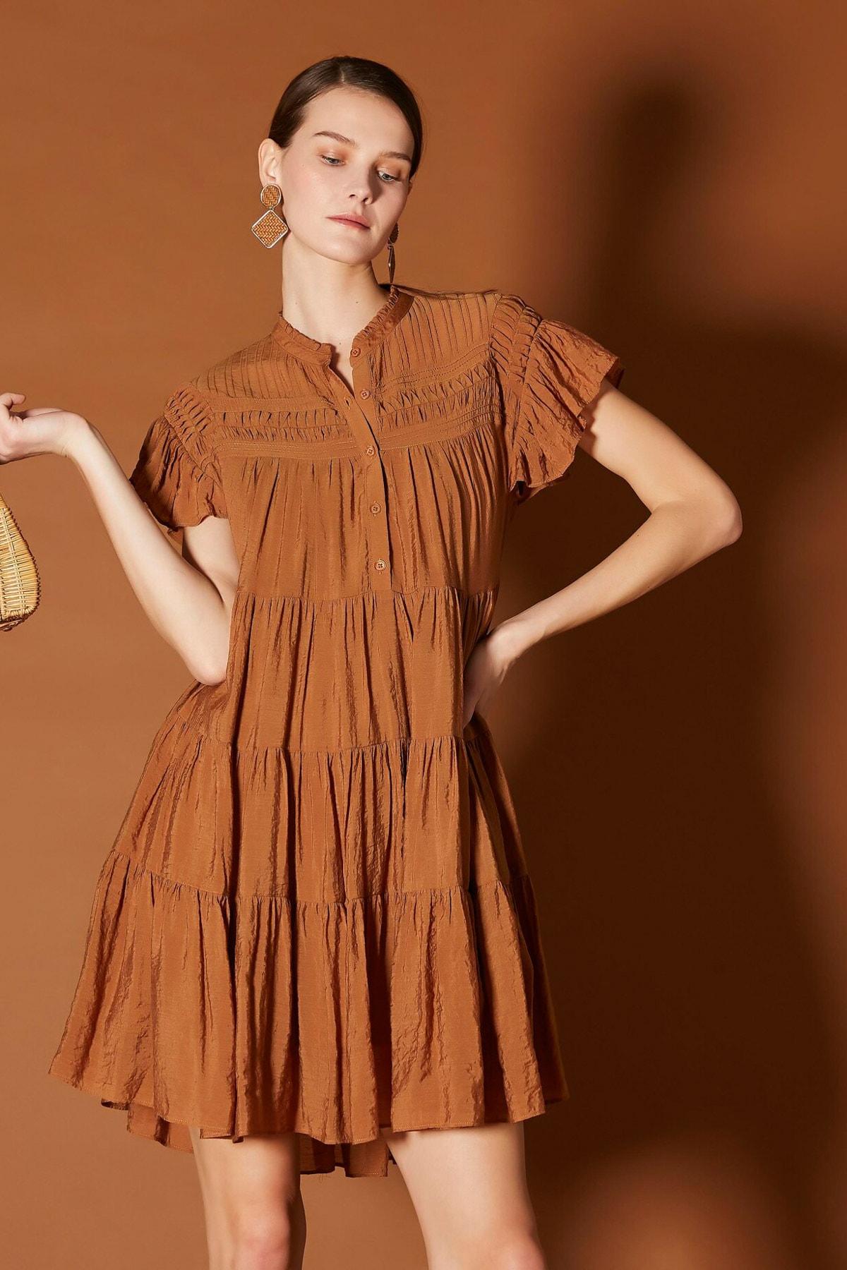 İpekyol Kadın Kahverengi Nervür Şeritli Elbise IS1200002481053 1