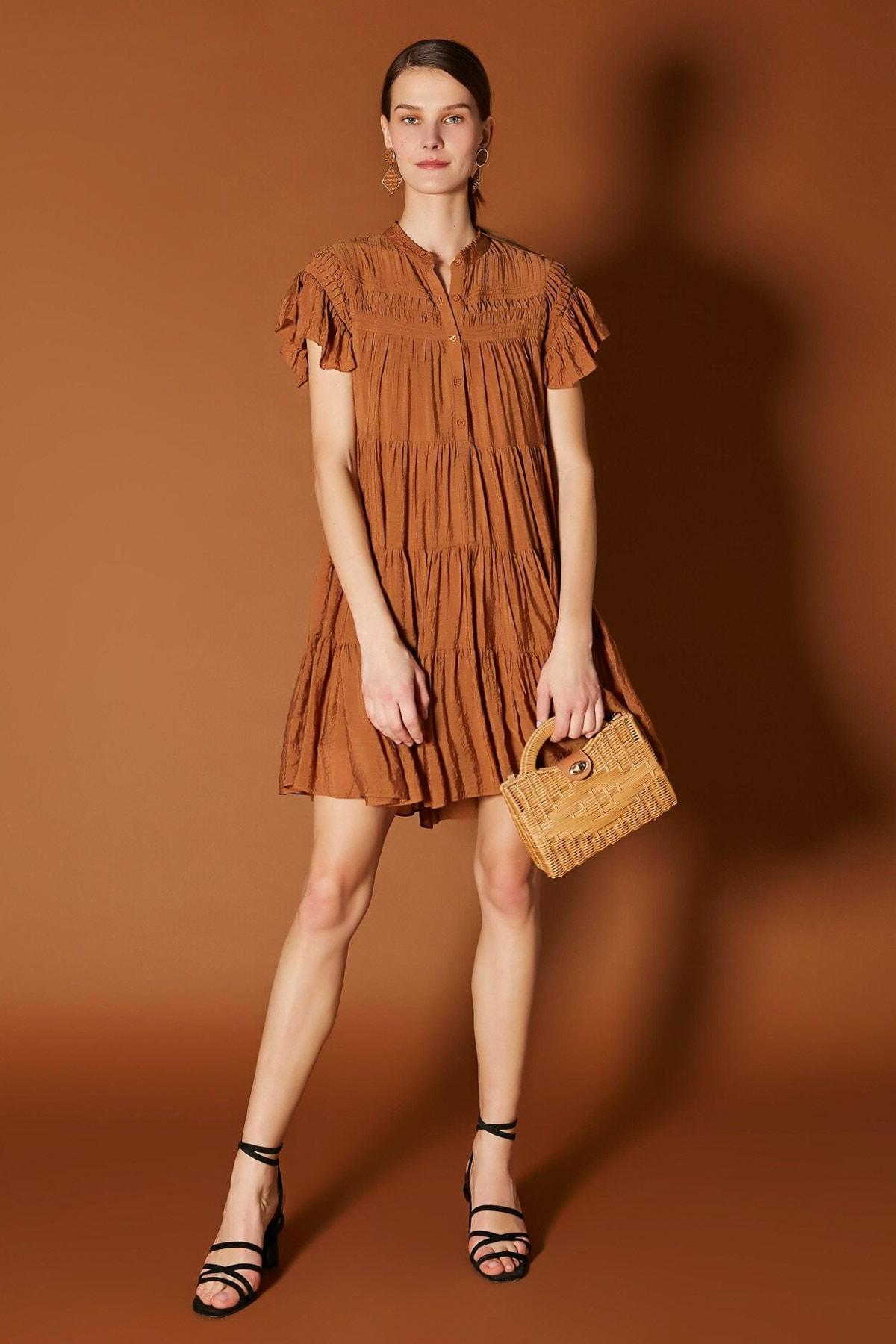 İpekyol Kadın Kahverengi Nervür Şeritli Elbise IS1200002481053 2