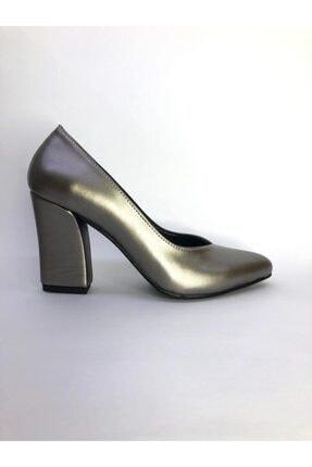 Büşra Sultan Ayakkabı Metalik Kalın Topuklu Stiletto Antrasit