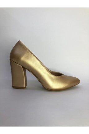 Büşra Sultan Ayakkabı Metalik Kalın Topuklu Stiletto Altın