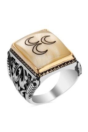 Anı Yüzük Beyaz Sedef Üzerine Üç Hilalli Motifli 925 Ayar Gümüş Yüzük