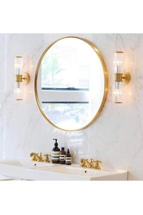 SPECCHIO Nehir 70 Cm'lik Altın Rengi Yuvarlak Ayna,dekoratif Ayna