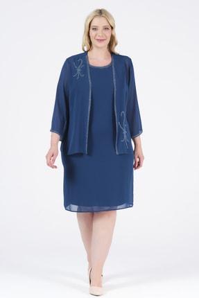 Oktay Kadın Mavi Şifon Ceketli Taş Aksesuarlı Astarlı Abiye Elbise Takımı