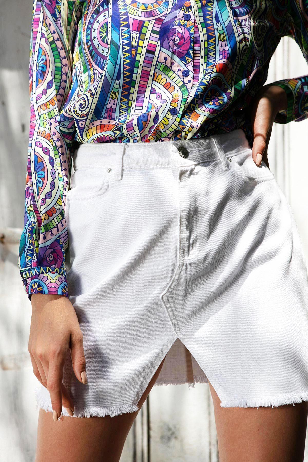 Y-London Kadın Beyaz Önü Yırtmaç Detaylı Cepli Kot Etek Y20S125-4001 1