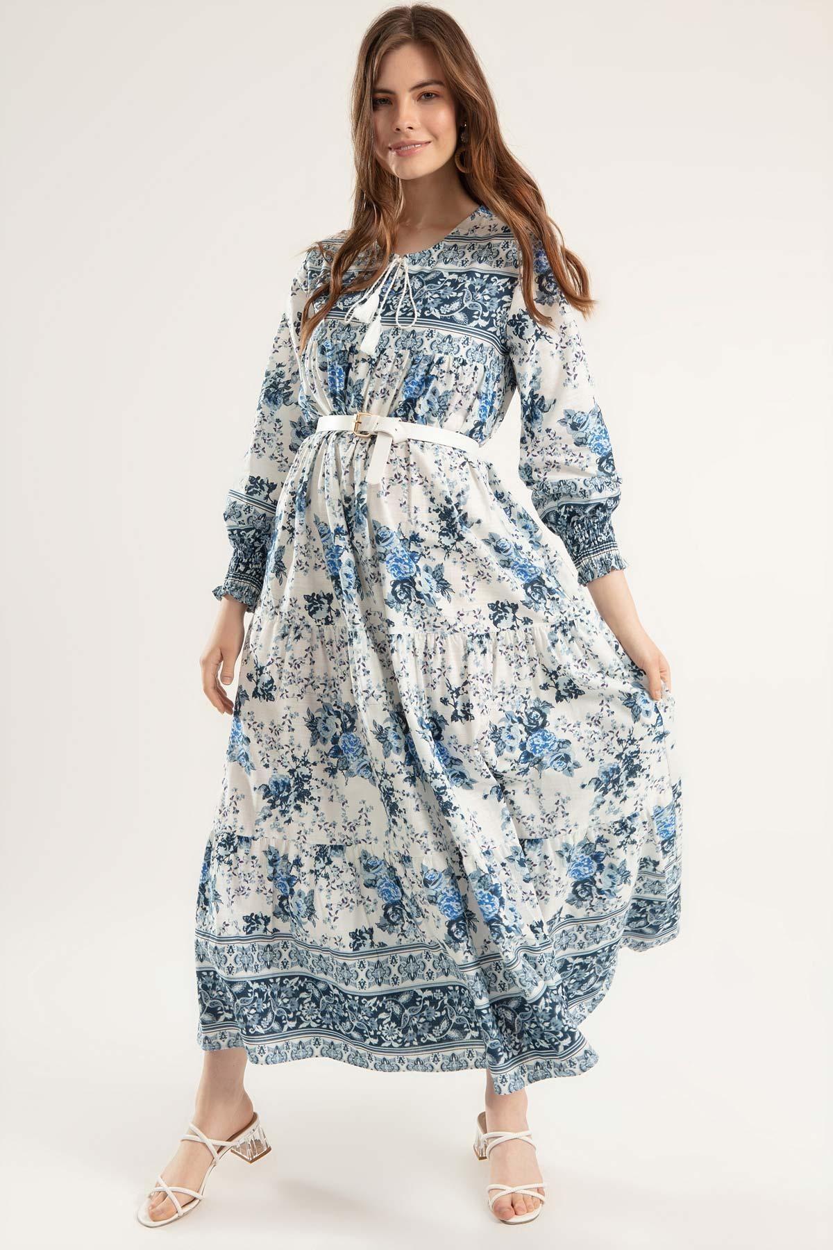 Y-London Kadın Mavi Çiçek Desenli Bileği Lastikli Uzun Elbise Elbise Y20S110-1947