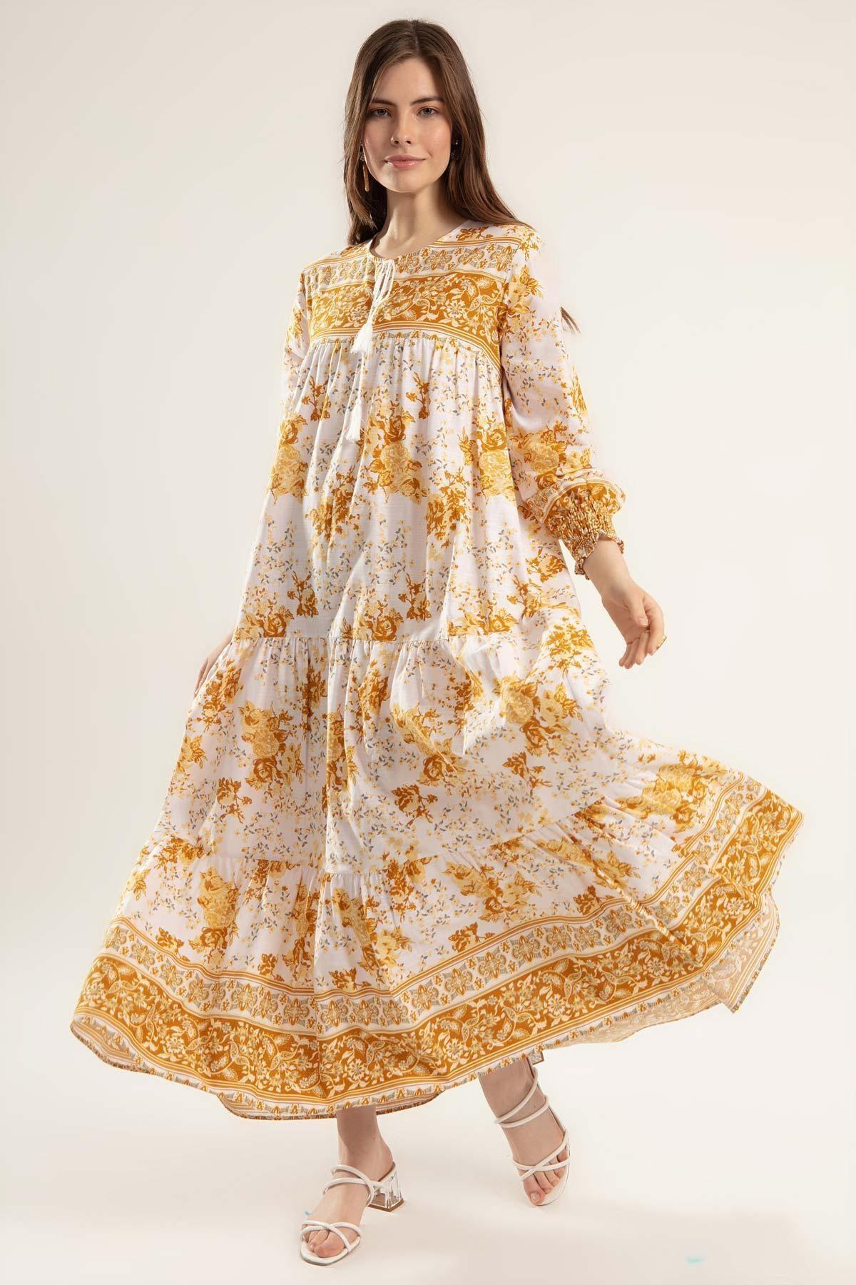 Y-London Kadın Hardal Çiçek Desenli Bileği Lastikli Uzun Elbise Elbise Y20S110-1947