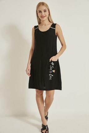 LA COSTUME Kadın Siyah Keten Cep Baskılı Elbise