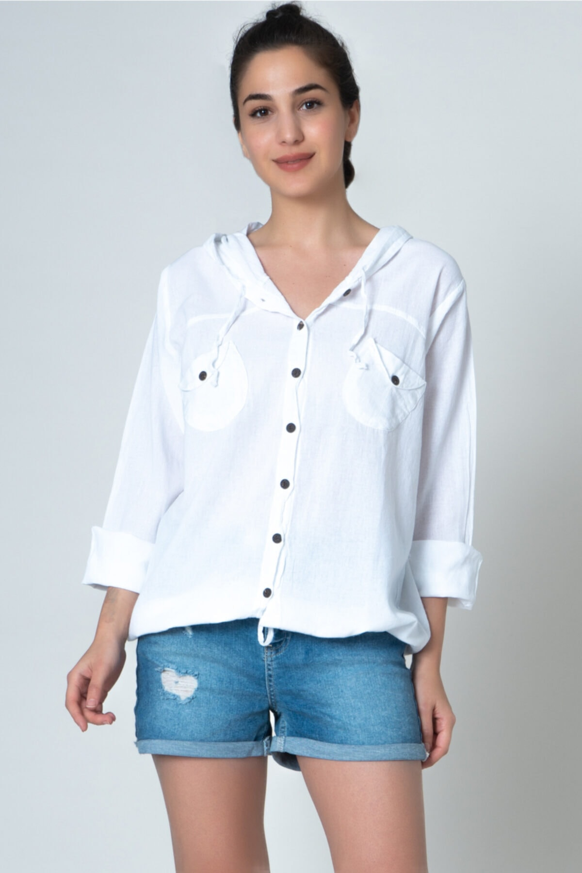 İpekçi Otantik Kadın Beyaz Kapüşonlu Gömlek 1