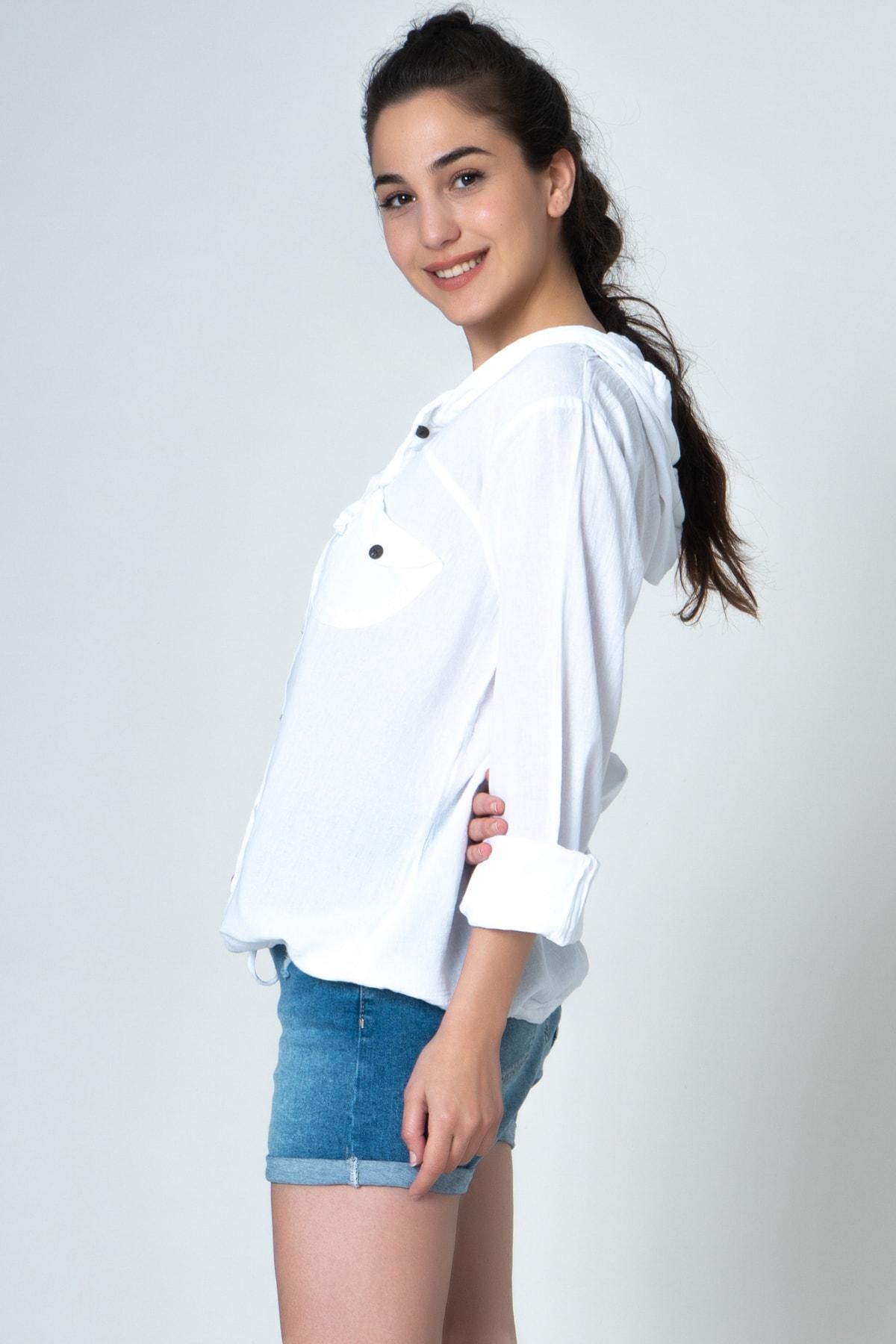 İpekçi Otantik Kadın Beyaz Kapüşonlu Gömlek 2