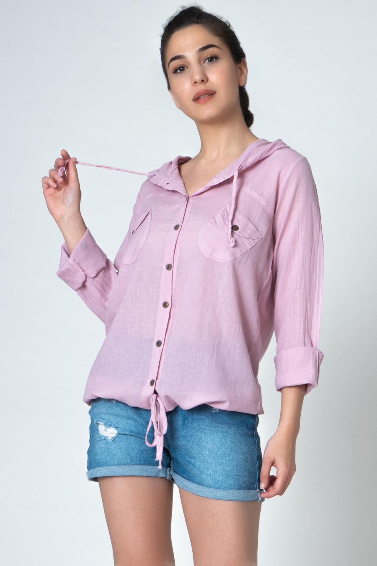 İpekçi Otantik Kadın Pembe Kapşonlu Coton Gömlek 1