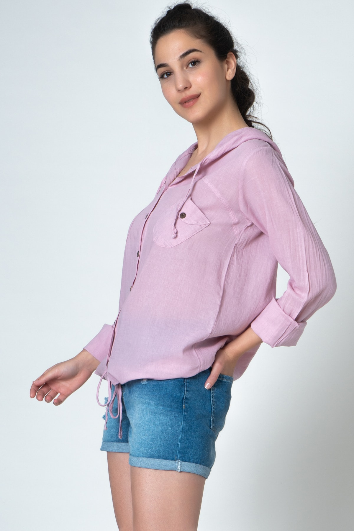 İpekçi Otantik Kadın Pembe Kapşonlu Coton Gömlek 2