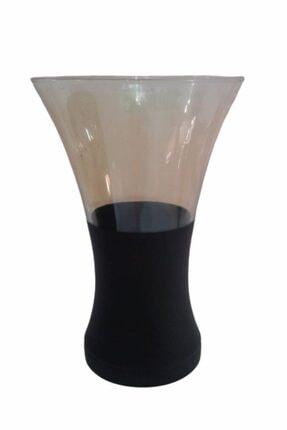 Çiftçiler Cam Vazo Siyah Lüster Kaplamalı 28 Cm Yükseklik 15 Cm Çap