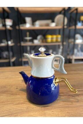 Dufy Emaye Porselen Çaydanlık Seti -lacivert