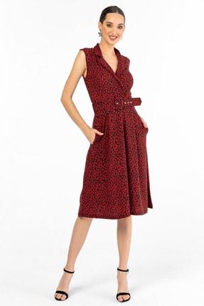 By Saygı Kadın Kırmızı Çiçek Desenli Kemerli Örme Krep Elbise S-20Y3860010