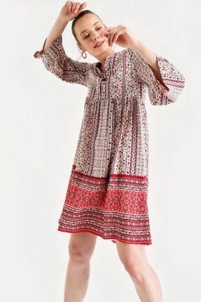 By Saygı Kadın Bordo Etnik Desen Elbise S-20Y2060050