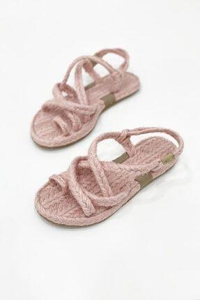 STRASWANS Kadın Pudra Roxy Parmak Arası Hasır Sandalet