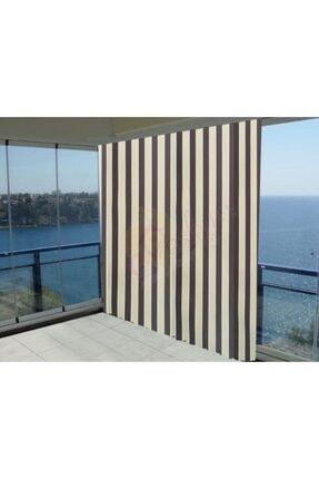 Merinos Evaşkım 120x180 Cm Balkon Perdesi Balkon Brandası Kahve Krem