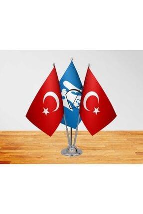 Vatan Bayrak Masa Üstü Selçuklu Devleti Bayrağı Türk Bayrağı + Üçlü Direk Masa Bayrağı