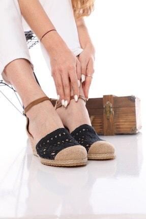 Nizar Deniz Bury Siyah Örgülü Espardil 5cm Kalın Topuklu Hazıralt Bayan Günlük Ayakkabı