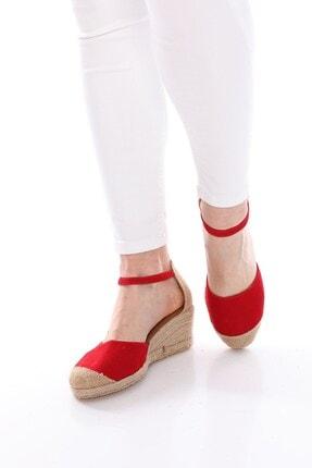 Nizar Deniz Bury Kırmızın Süet Espardil 5cm Kalın Topuklu Hazıralt Bayan Günlük Ayakkabı
