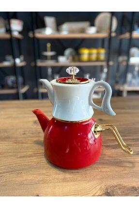 Dufy Emaye Porselen Çaydanlık Seti Kırmızı