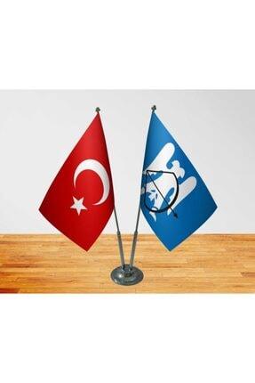 Vatan Bayrak Masa Üstü Selçuklu Devleti Bayrağı Türk Bayrağı Ikili Krom Direk Masa Bayrağı