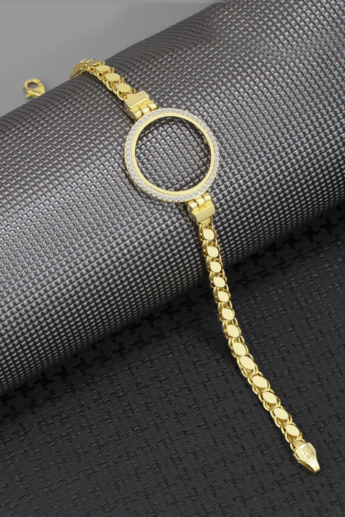 Else Silver Kadın Gold Pullu Zincirli Çeyreklik Gümüş Bileklik 1