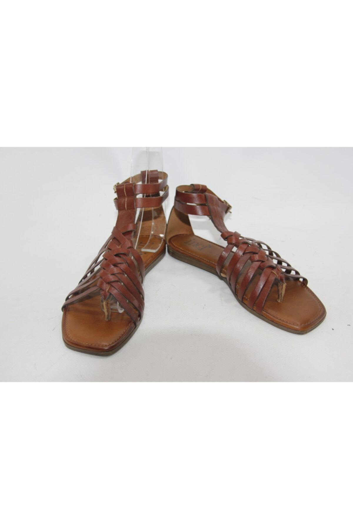 İnci Kadın Kahve 38 Numara Hakiki Deri Sandalet Ayakkabı 2