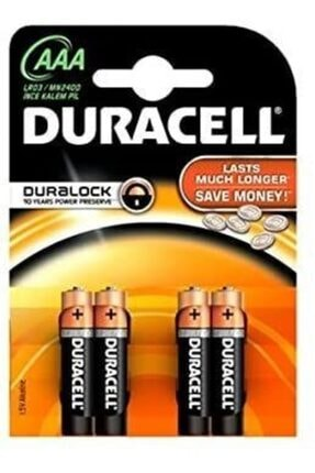 Duracell Alkalin Aaa Kalem Pil 4'lü Paket Kumanda Pili , Saat Pili , Elektronik Cihaz Pili Kalem Pil