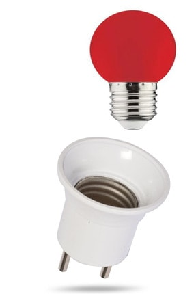 MAKEL Duy Fişli + 1w Enerji Tasarruflu Duylu Renkli Led Gece Lambası Ampulu Kırmızı Işık