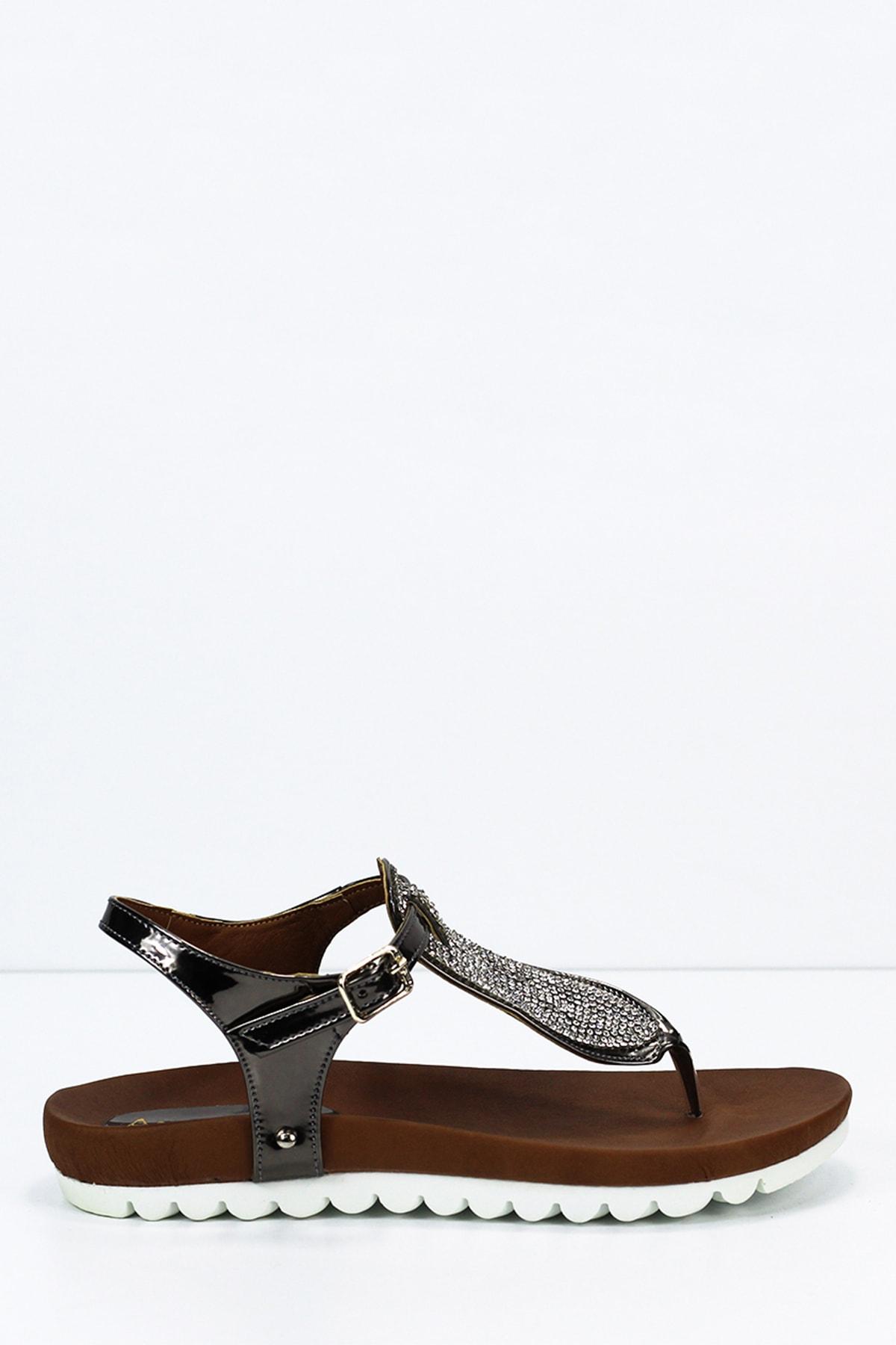 Angelshe Kadın Platin Sandalet 1