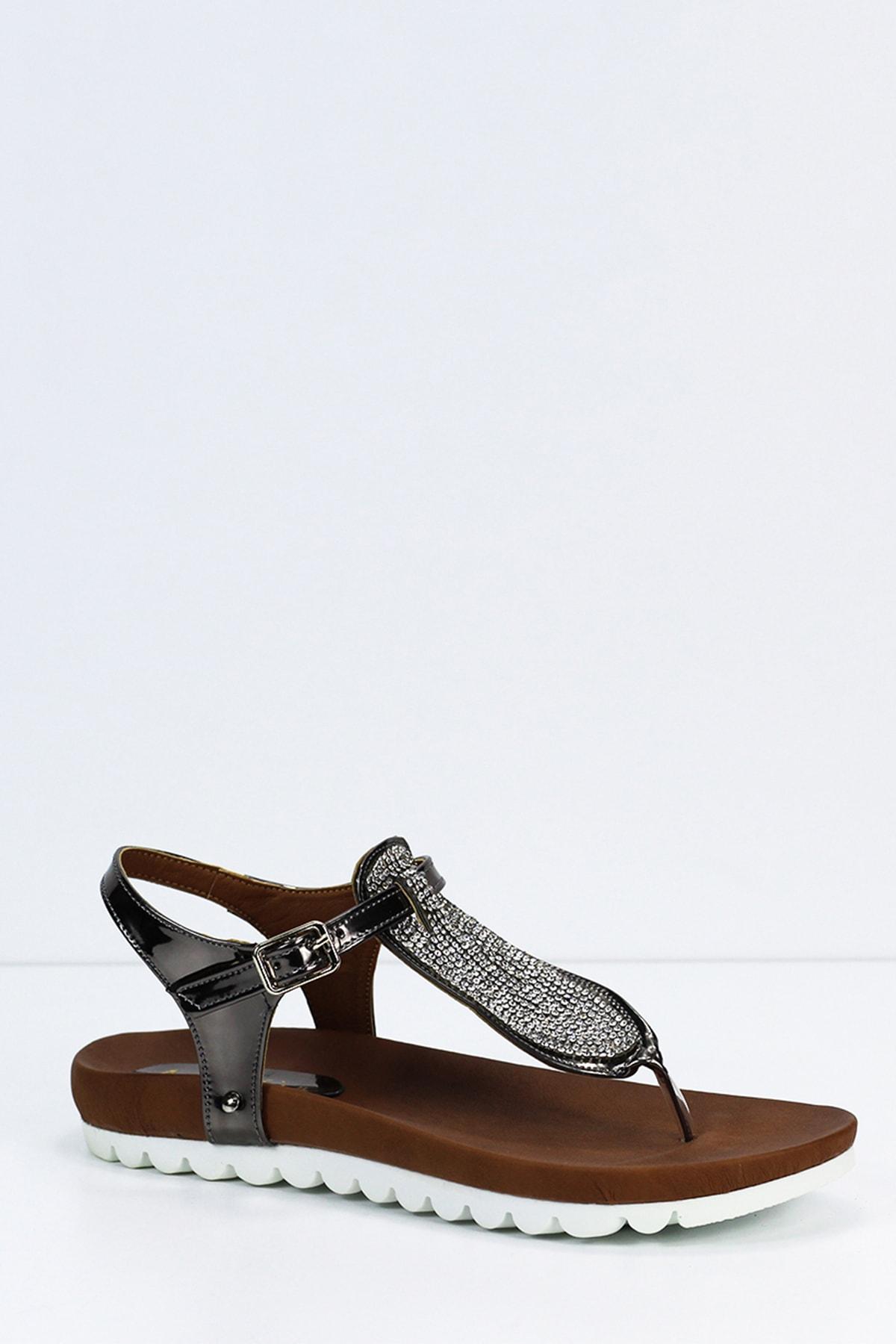 Angelshe Kadın Platin Sandalet 2