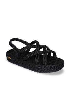 Nomadic Republic Bodrum Platform Kadın Halat & İp Sandalet - Siyah