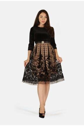 rapellin Kadın Bej  Flok Baskılı Kemer Detaylı Elbise