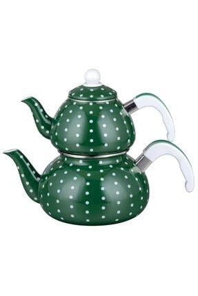 EBRU COMFORT Emaye Lüks Çaydanlık Takımı Yeşil