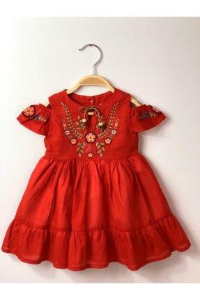 Buse&Eylül Bebe Kırmızı Nakışlı Pamuk Kız Çocuk Elbisesi