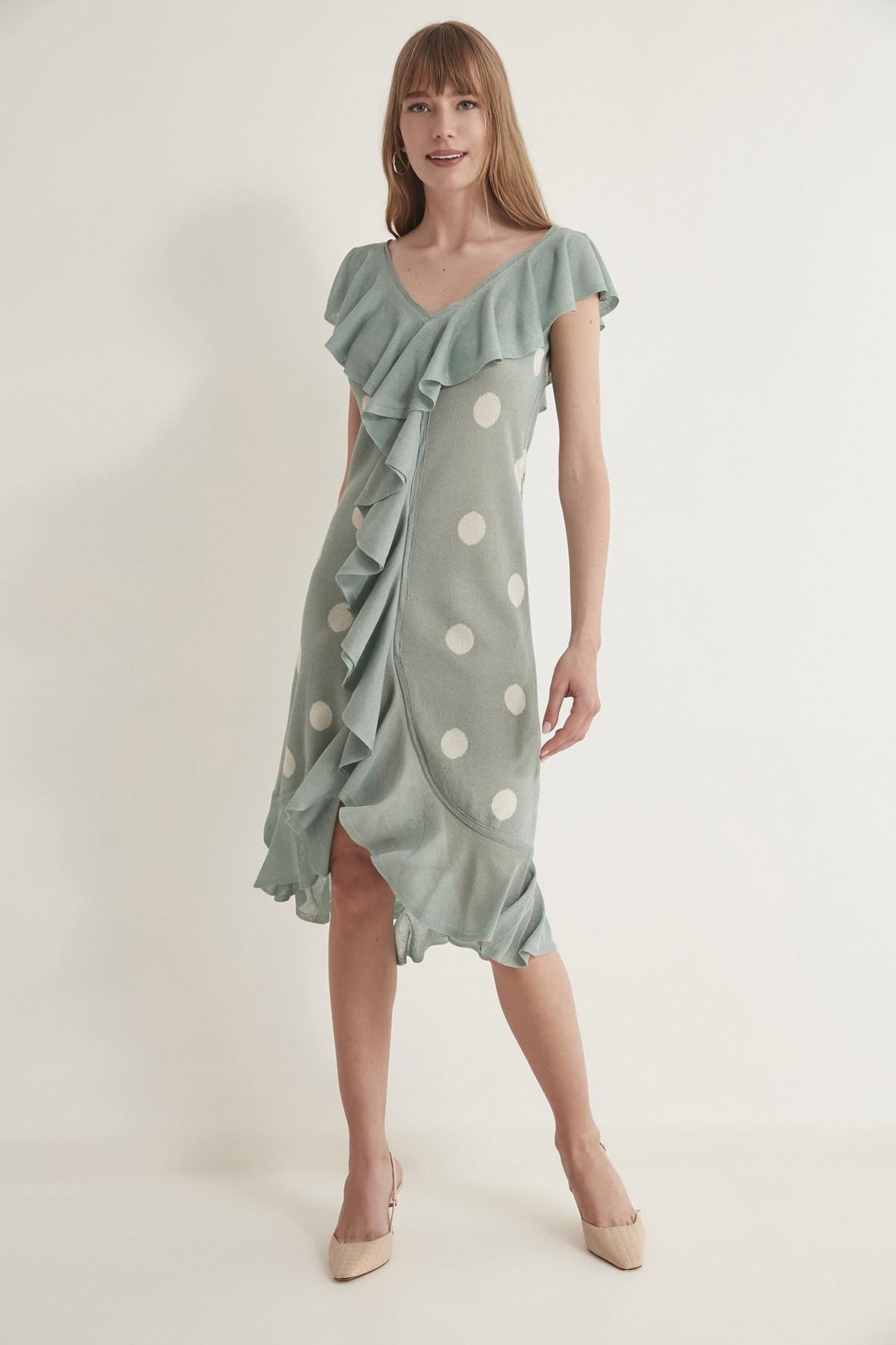 JOIN US Kadın Puantiyeli Fırfırlı V Yaka  Triko Elbise-Mint 2020S079 1