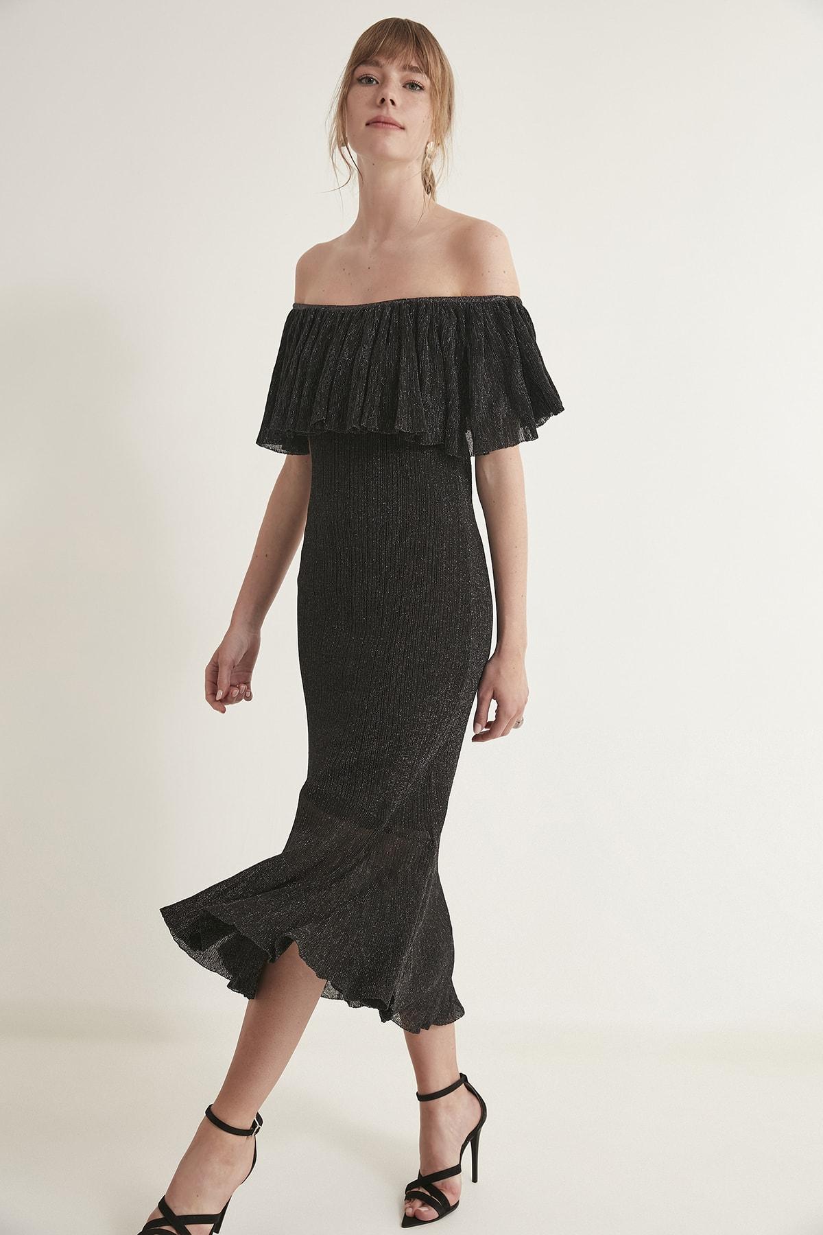 JOIN US Kadın Siyah Simli Volanlı Arkası Çapraz Bantlı Astarlı Elbise  2020S126