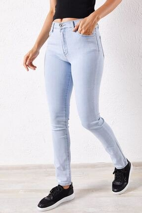 Zafoni Kadın Açık Mavi Kot Pantolon