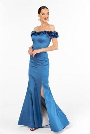By Saygı Kadın Mavi Yaka Üç Boyut Çiçekli Saten Uzun Abiye Elbise
