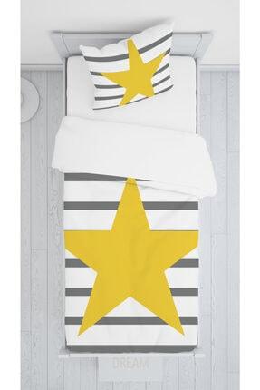 halımarkt Gri Çizgili Sarı Yıldızlı Yatak Örtüsü Takımı Hm-b34
