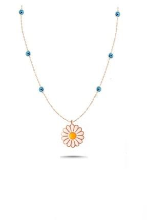 Trend Silver Gümüş Rose Mavi Mineli Nazar Boncuklu Papatya Kolye